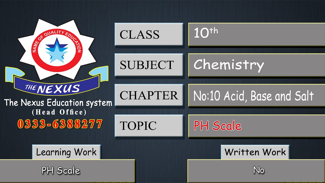 10th Class Chemistry -Lecture 7  -PH Scale  (Lecture by: Ahsan Sab)