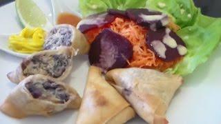 recette facile de samboussa (samoussa) de poulet et choux rouge au curry et combava.