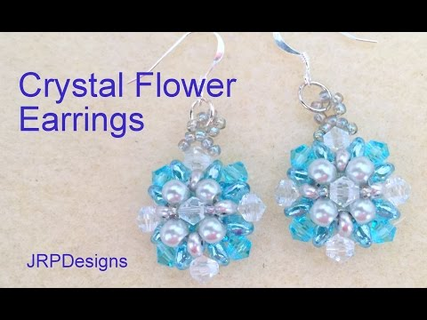 Crystal flower Earrings--Beginner Level