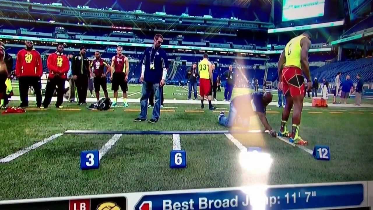 """2013 NFL combine Jamie Collins 11'7"""" broad jump - YouTube"""