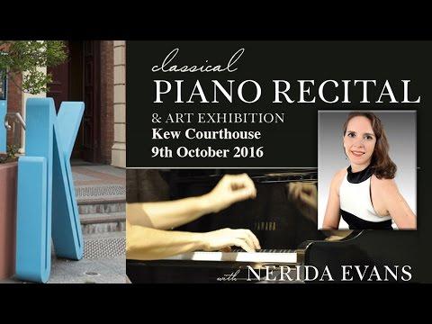 Nerida Evans Classical Piano Recital, Kew, 12th October 2016