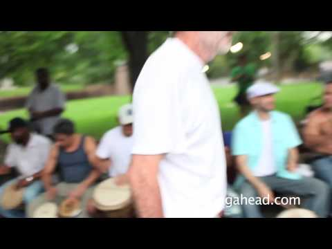 Hand drummers and dancers in NYC's Central Park