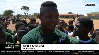the boks plant trees at an eastern cape school