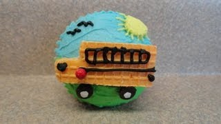 Decorating Cupcakes #111: Back To School - The School Bus