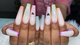 Acrylic Nails FullSet | Cut Out Heart Nails | Glow In the Dark Nails | Long Coffin Nails