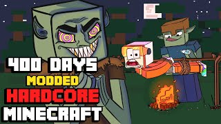 I Survived Hardcore Modded Minecraft For 400 Days using the largest modpack possible