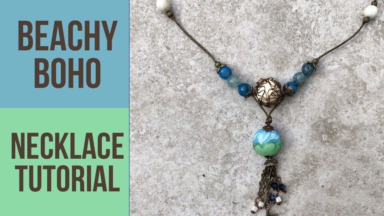 Aqua colors in beachy boho necklace