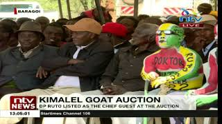 Man paints pro-DP Ruto messages on himself at the Kimalel goat auction