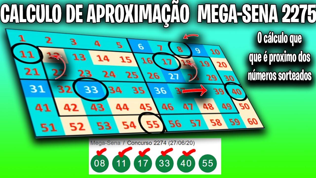 CALCULO DE APROXIMAÇÃO PARA MEGA SENA 2275