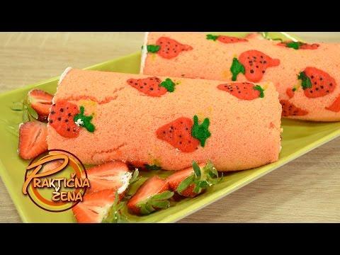 Praktična žena - Japanski čiz kejk rolat sa jagodama (strawberry cheesecake)