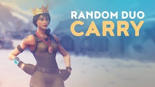 RANDOM DUO CARRY - KID IN SHOCK PLAYING WITH ME! (Fortnite Battle Royale)