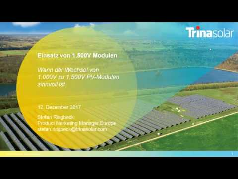 Webinar: 1.500V PV-Module in der Anwendung