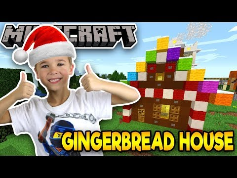 BUILDING A GINGERBREAD HOUSE in MINECRAFT SURVIVAL MODE