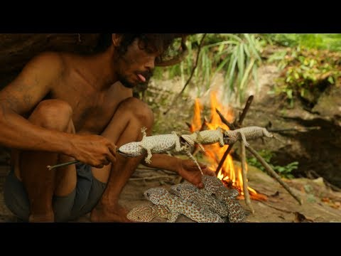 Bushman Catching Gecko  Lizard  In forest and Grill Gecko eat in the Cave