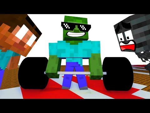 Monster School : STRENGTH CHALLENGE - Minecraft Animation