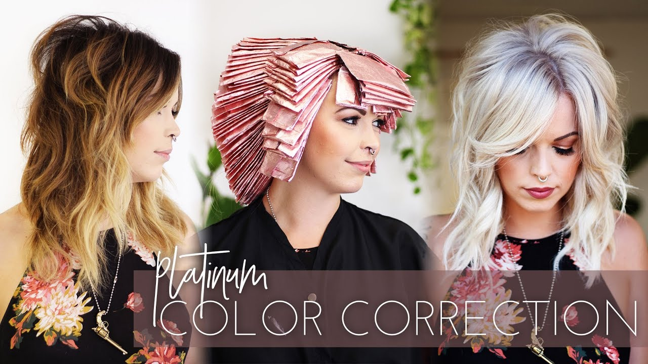 Platinum Blonde Color Correction Brunette To White In One