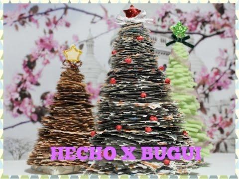 Como hacer un arbol de navidad con papel de peri dico - Como decorar un arbol de navidad ...