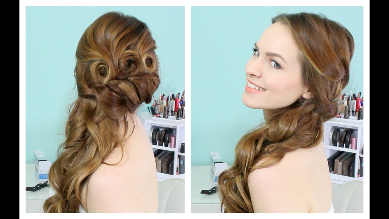 Beautiful Side Swept Updo - YouTube