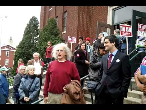 "Mayoral Candidate Miro Weinberger Answers ""Occupy Burlington"" Question Outside Memorial Auditorium"