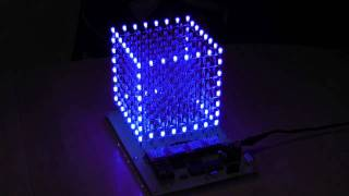 LED-CUBE 8x8x8(Just wanted to also put a video of my cube into youtoube. How is it done? ATMEGA32, 8x74574 Registers, 512 LEDs (blue, diffuse) RS232 Interface to PC for ..., 2011-07-30T16:43:53.000Z)