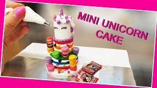 Mini UNICORN 🦄 cake with mini macarons/real mini cake/unicorn love/chocolate cake/rainbow cake/DIY
