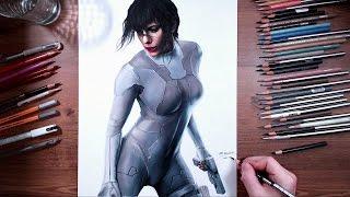 Ghost in the Shell: Motoko Kusanagi (Scarlett Johansson) - speed drawing | drawholic