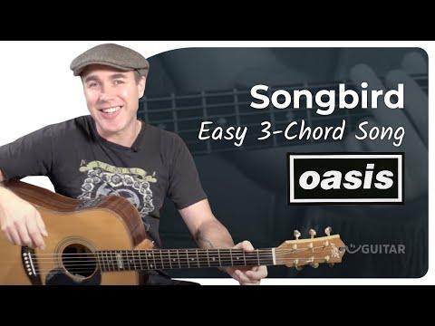 Songbird - Oasis - Beginner Easy 3 Chord Song Guitar Lesson Tutorial (BS-320)