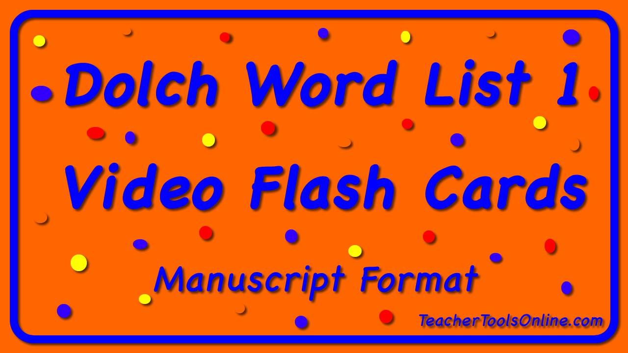 dolch primer flash cards