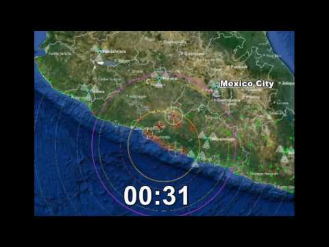 Earthquake Warning Simulation - M7.5 Offshore Mexico