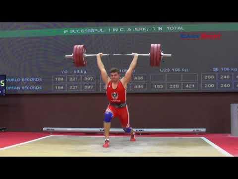 FLORIAN KOCH - Stoßen 180, 184x, 184x - 2017 EUROPEAN CHAMPIONSHIPS JUNIOR & U23