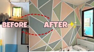 EXTREME Room Make Over 2020| EASY DIY GEOMETRIC DESIGN | SMALL TRANSFORMATION| COZY ROOM