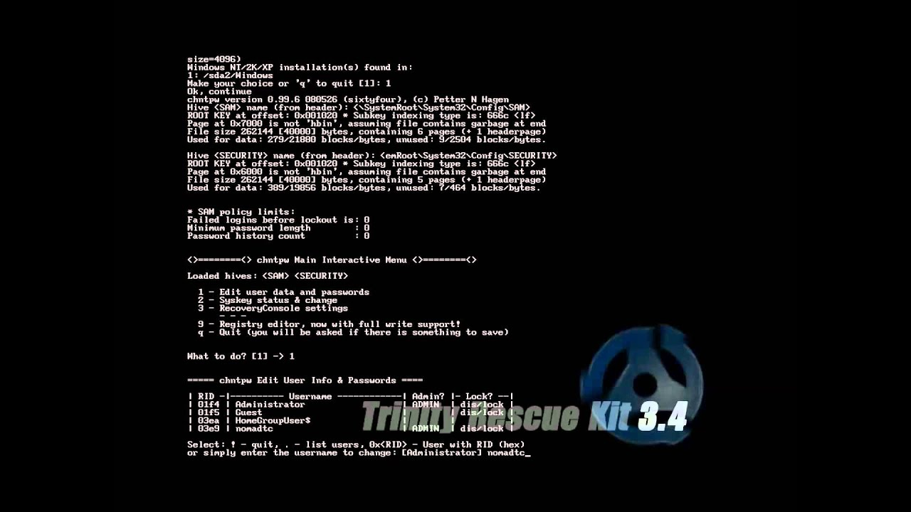 how to use trinity rescue kit 3.3 to reset password