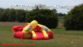 Hüpfburg HappyHop Clown 8,8 m² mit Rutsche und Basketballkorb