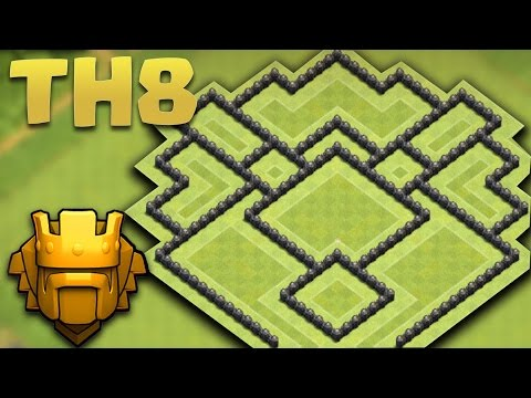 CLASH OF CLANS - TOWN HALL 8 NEW TROPHY PUSHING BASE + Defence Replays