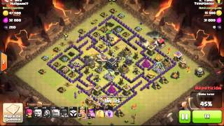 Clash of Clans - TH9 - Golem / Magos / Brujas (level bajo).