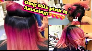 silk press on extremely thick natural hair!!! (pink hair)