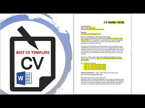 BEST CV TEMPLATE WORD CV Tips, Sample CV and Advice - YouTube