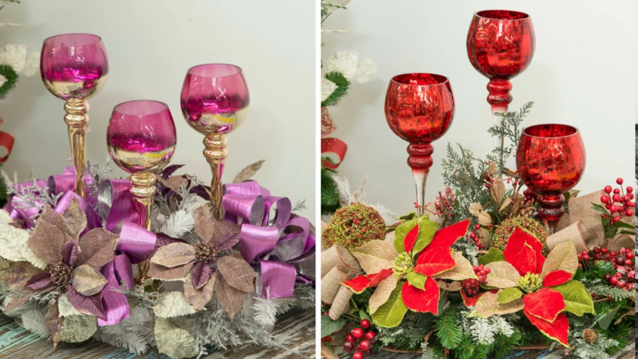 Tendencias navidad 2016 centros de mesa con copas youtube - Mesa para navidad decoracion ...