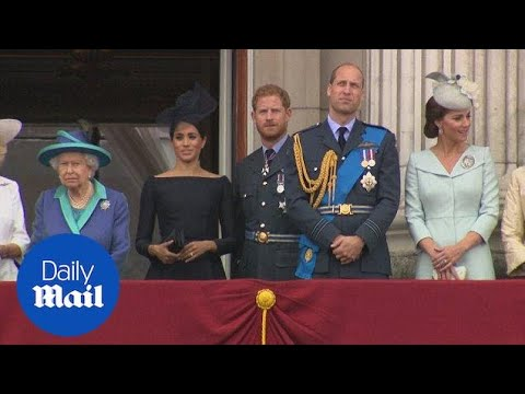 Royal family watch spectacular RAF flypast to mark its centenary  Daily Mail