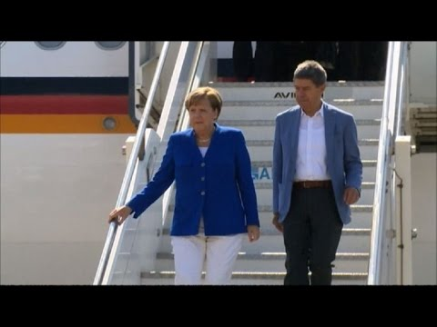 Angela Merkel arrives in Sicily for G7 Summit