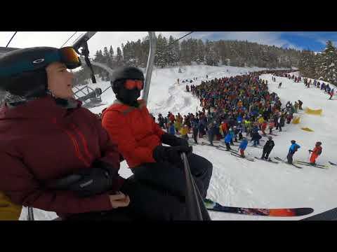 Insane Ski Lift Line At Vail