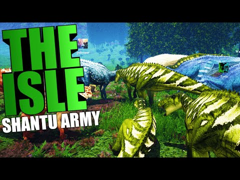 The Isle - SUPER AGGRESSIVE HERD, SHANTUNGOSAURUS ARMY VS TREX (The Isle Funny Moments Gameplay)