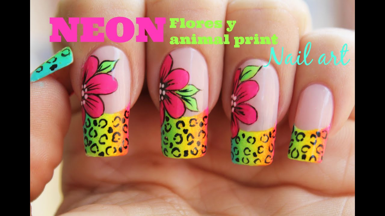 decoracin de uas flores neon con animal print youtube - Decoraciones De Unas