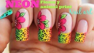 Decoración de uñas flores neon con animal print