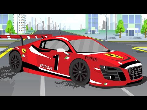 La Voiture de course Rouge - Dessins animés français - Un Monde De Voitures Pour Enfants