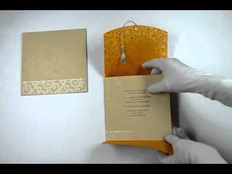 hqdefault d 1405, orange color, handmade paper, wedding cards, designer,Handmade Paper Wedding Invitations