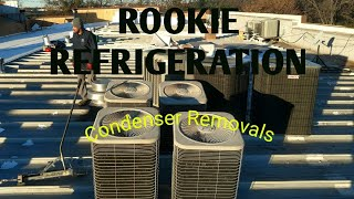HVAC Removing condensers for roofing job.