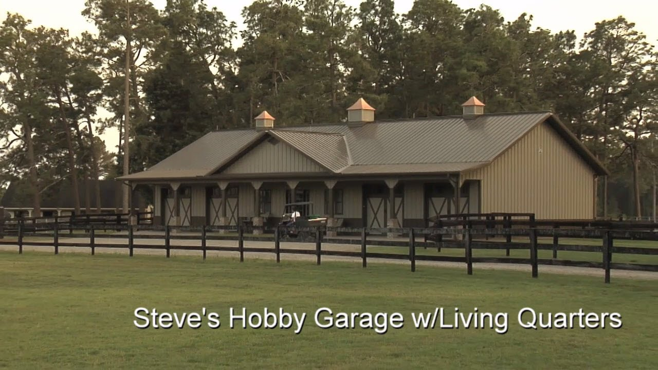 Steve 39 s hobby garage w living quarters youtube for Garage barns with living quarters
