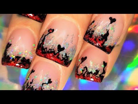 Red Hot Lava Heart Nails! Valentine's Day Nail Art Design Tutorial 2018