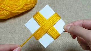 Super Easy Flower Craft Ideas with Woolen - Hand Embroidery Amazing Trick - Wool Flower Design